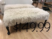 "Bench ottoman faux shaggy sheep fur 48"" long in Fort Leonard Wood, Missouri"