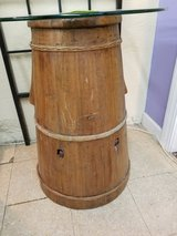 Old Wood Barrel Table with Glass 1326-1463 in Camp Lejeune, North Carolina