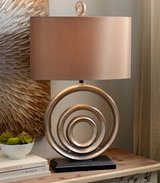 Large wood distressed and bronze lamp, beautiful in Morris, Illinois