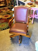old school oak/leather office chair in Camp Lejeune, North Carolina