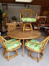 Rattan Table & 4 Chairs with Cushions #2224-90 in Camp Lejeune, North Carolina