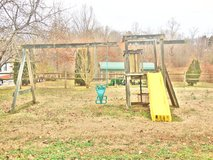 wooden swing set in Fort Campbell, Kentucky
