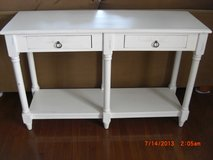 White Distressed Chic 6 Leged Console Sofa table with 2 Drawers in Alamogordo, New Mexico