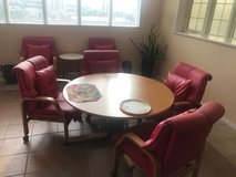 DINING TABLE WITH RED LEATHER CHAIRS in Okinawa, Japan