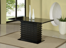 Black Finish Wood Wave Design Dining Room Table with 4 Chairs in Sugar Grove, Illinois