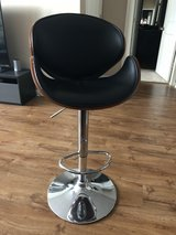 2 Walnut Bentwood Adjustable Height Barstools with Curved Back and Black Vinyl Seat in Sugar Grove, Illinois