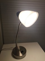 Like NEW White Lamp with Charging base-Perfect for College students, desk or side table! in Glendale Heights, Illinois