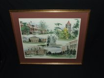 U of I University of Illinois Original Watercolor Print by Shaw Signed in Aurora, Illinois