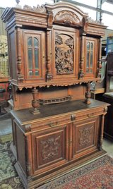 Antique Buffet with the Slaying of a Lion Carving in Ramstein, Germany
