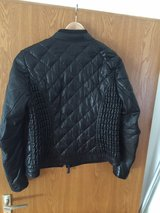 genuine leather black quilted jacket size large in Ramstein, Germany