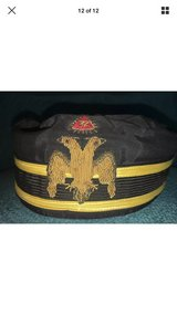 Vintage Ceremonial Lodge Masonic Hat,Cap,Double Eagle,Black 6 5/8 in Byron, Georgia