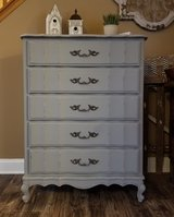 Refinished Gray dresser chest in Naperville, Illinois