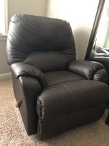 barely used, like new, faux leather Recliner with message capability in Warner Robins, Georgia