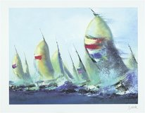 """July Sails"" by Victor Spahn 28x38 seriolithograph, Framed Wall Art from art gallery in Sugar Land, Texas"