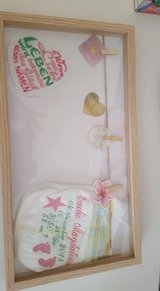 With the dates of birth Embroidered diaper with frame in Ramstein, Germany