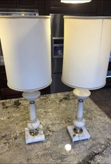 Vintage Lamps w/Original Lampshades.Circa 1950's. Ceramic/Marble/Brass. Work with LED or 3 w... in Lockport, Illinois