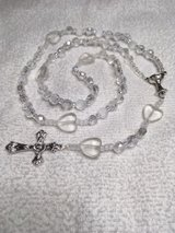 Rosary First Communion Girl Crystal Fire Polished Heart Pater Beads Chalice Medal Italian Silver... in Houston, Texas