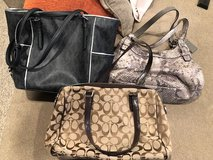 Tan and Brown Coach Purse, Pattern Coach Purse, Black Michael Kors Purse in Naperville, Illinois