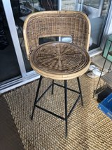 vintage rattan swivel bar stool in Yucca Valley, California