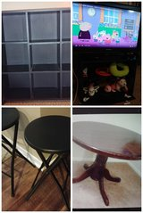 dining table, bar stools, 32 inch lcd tv, 9 cube book shelf in Bellaire, Texas