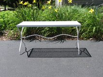White Vintage Mesh Bench/Coffee Table in Joliet, Illinois
