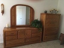 Oak king size bedroom set with mattress and box springs! in Alamogordo, New Mexico