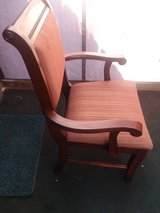 REALLY NICE VINTAGE CHAIR TRIMMED IN MAHOGHANY WOOD in Cherry Point, North Carolina