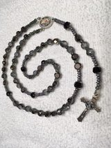 Rosary First Communion Boys Special Fire Polished Smoke Black Beads Pewter Spacers Guardian Ange... in Kingwood, Texas
