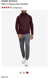 Mens New Under Armour burgundy hoodie in Chicago, Illinois