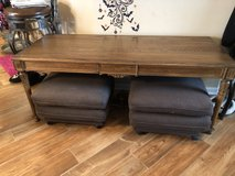 Oak TV table with viewing ottomans ***REDUCED for quick sale*** in Bartlett, Illinois