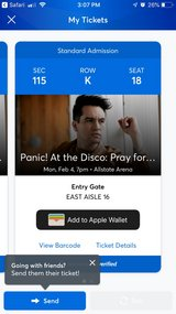 Panic at the Disco tickets x 2 in Chicago, Illinois
