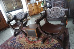 set of 2 carved throne chairs with leather seats in Spangdahlem, Germany