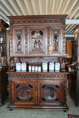 superb 2 piece Breton dining room hutch with ornate carvings in Spangdahlem, Germany