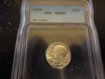 1955 ms 63 die crack error dime in Fort Campbell, Kentucky