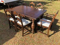Antique table with 6 chairs in Moody AFB, Georgia