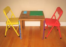 Solid Wood LEGO Table & 2 Chairs + 1 LEGO Set in Chicago, Illinois