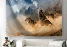 Howling Wolf Wall Tapestry, Three Musketeers Wolves in Desert Sandy Land Howling to Moon Wall Ha... in Moody AFB, Georgia