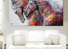 Colorful Horses Canvas Frameless Home Decor Huge Wall Art Oil Painting in Moody AFB, Georgia