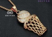 HIP Hop Iced Out Bling Full Rhinestone Men Basketball Pendants Necklaces Stainless Steel Sports ... in Moody AFB, Georgia