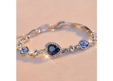 Hotest Womens Ladies Crystal Rhinestone Bangle Ocean Blue Bracelet Chain Heart Jewelry in Moody AFB, Georgia