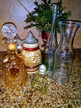 Dimpled decanter & vintage bottles in Kingwood, Texas