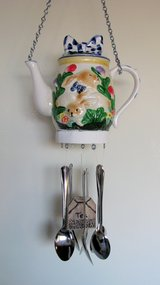 Tea Pot Wind chime, Bunny tea pot with spoons as chimes in Yucca Valley, California