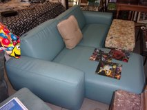 Light Blue Leather Two Piece Sectional with Chaise Lounge in Fort Riley, Kansas