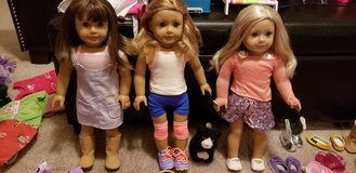 3 American girl dolls, jeep, 2 trailers, horse, cloths, shoes and accessories in Aurora, Illinois