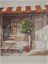 "Canvas Art - Soothing Cafe Scene - Neutral Shades of Orange, Tan, and White -31 in. x 31 "" - Large! in Beaufort, South Carolina"