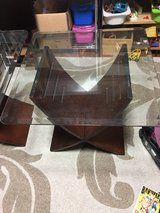 2 nice glass and wood end table in Okinawa, Japan
