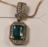 Emerald & Diamond Pendant NIB & Necklace in Okinawa, Japan