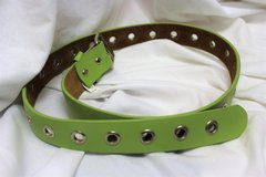 Vintage 1980s Belt Green Neon Stud Leather Punk Valley Girl Dress Up Silver in Houston, Texas