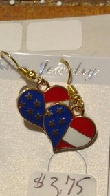 Flag Heart Shaped Earrings- Gold in 29 Palms, California