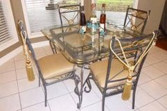 Modern Dining Furniture: Iron Beveled Glass Table, 4 Tufted Chairs & 6' matching 3-shelf Display in Rosenberg, Texas